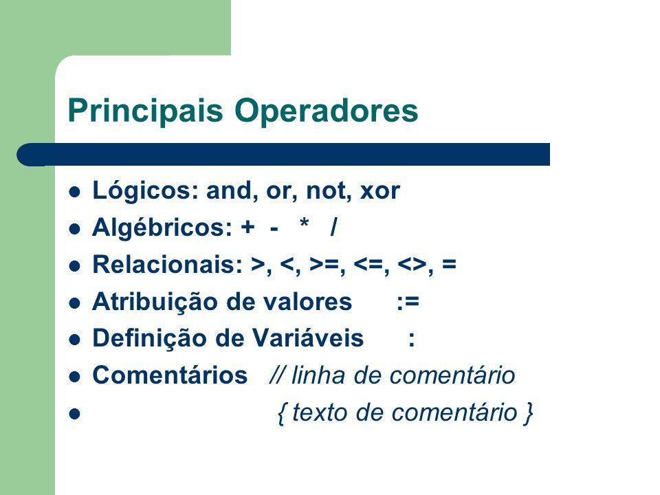 Principais Operadores