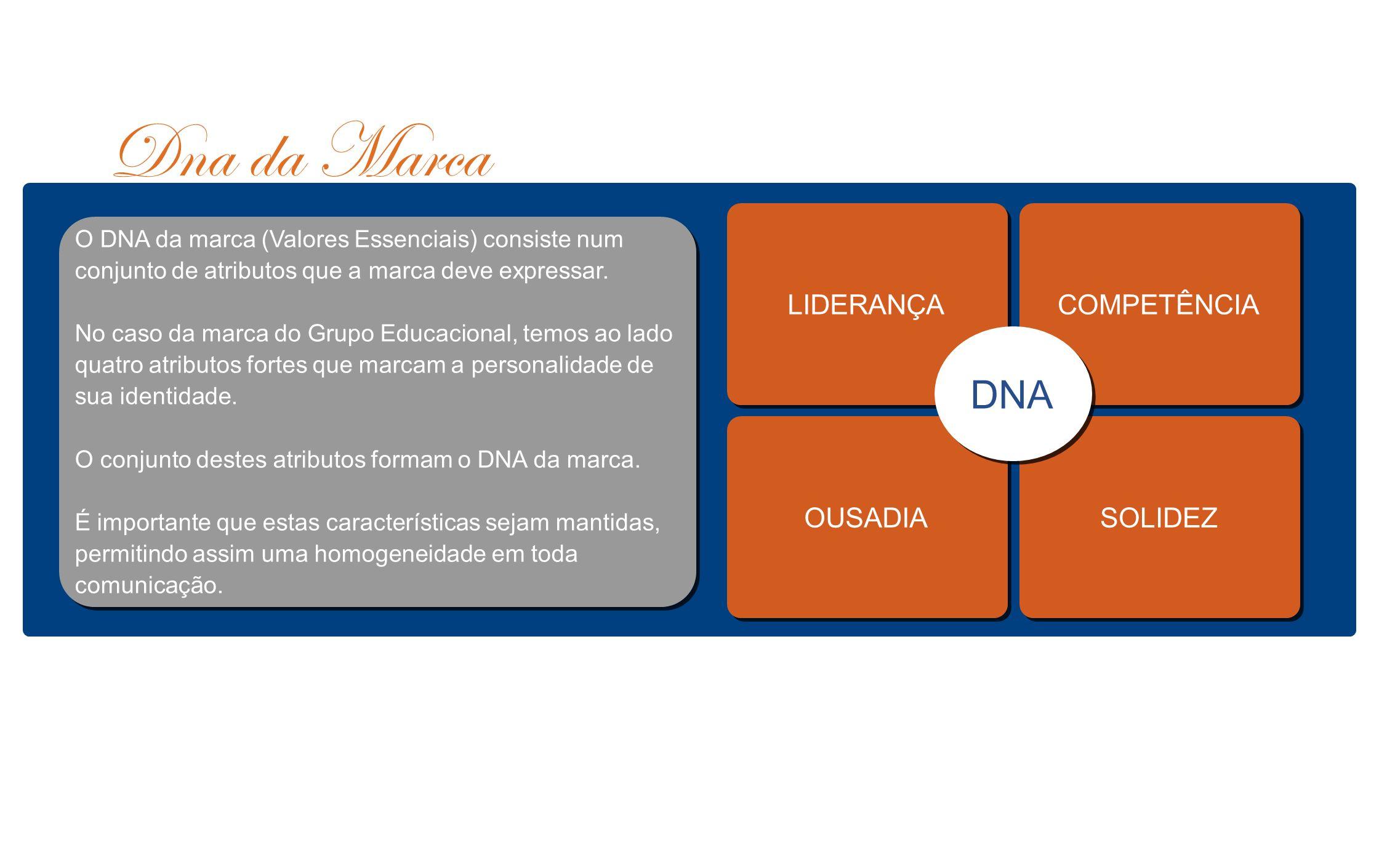 Dna da Marca DNA LIDERANÇA COMPETÊNCIA OUSADIA SOLIDEZ
