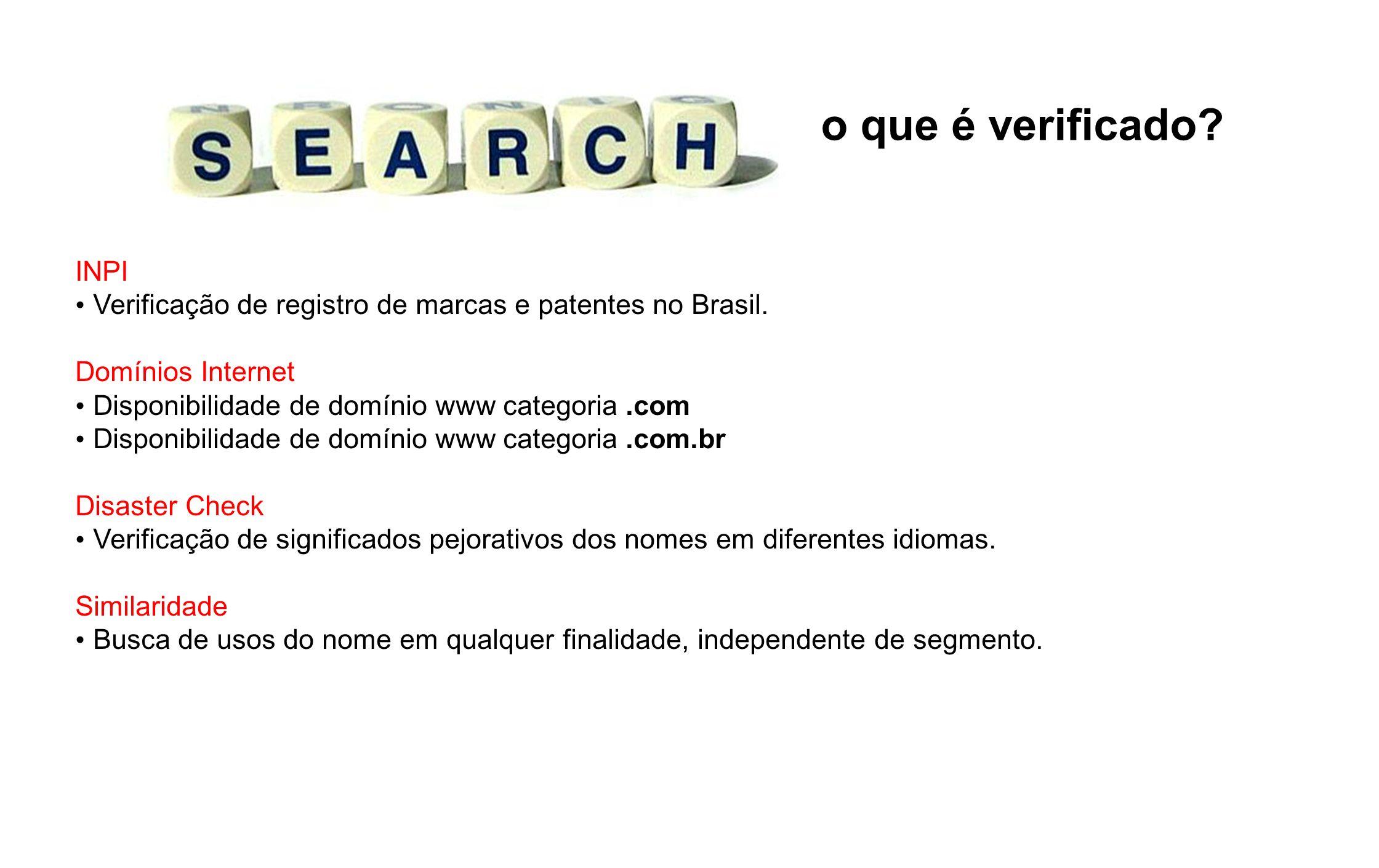 o que é verificado INPI. Verificação de registro de marcas e patentes no Brasil. Domínios Internet.