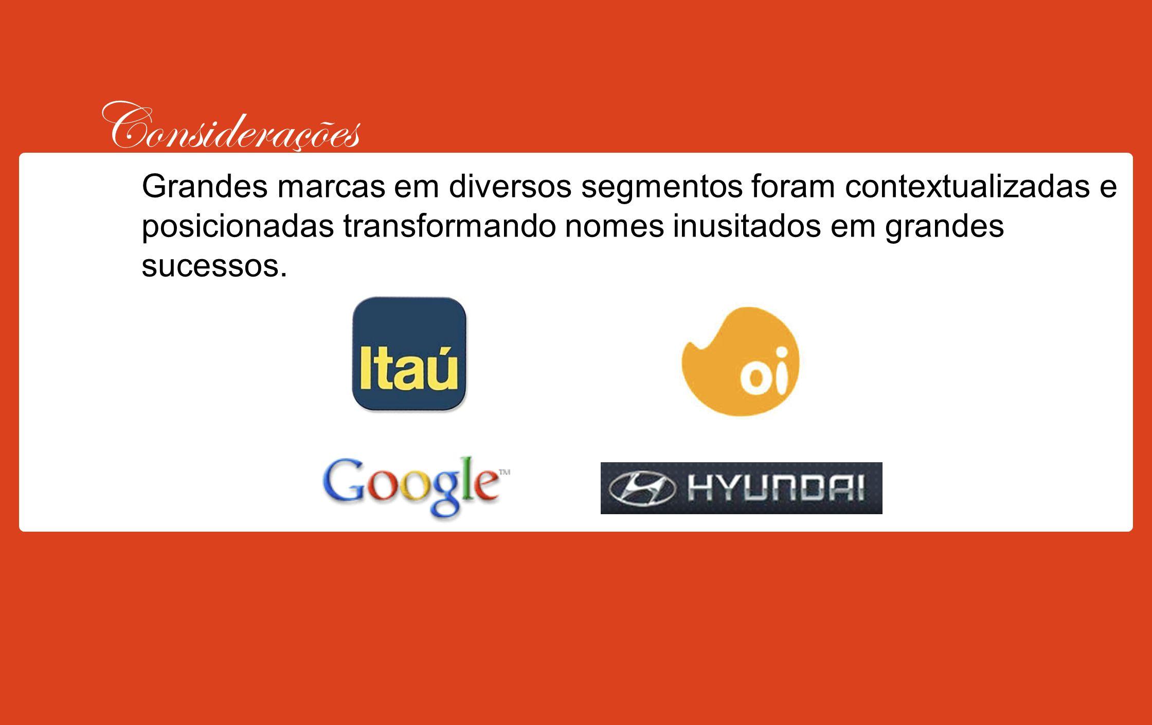 Considerações Grandes marcas em diversos segmentos foram contextualizadas e posicionadas transformando nomes inusitados em grandes sucessos.