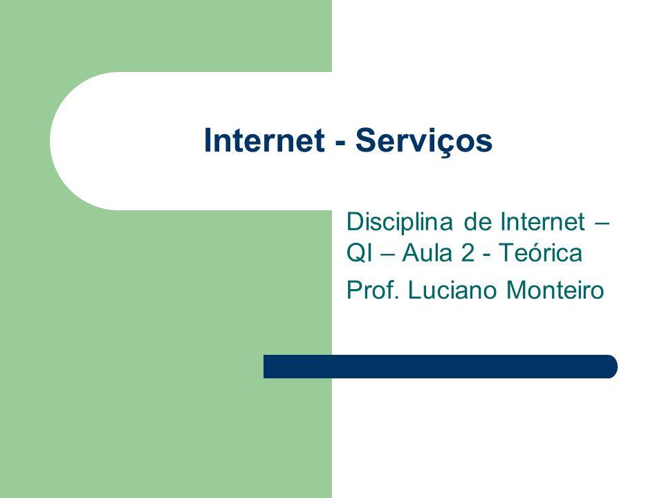 Disciplina de Internet –QI – Aula 2 - Teórica Prof. Luciano Monteiro