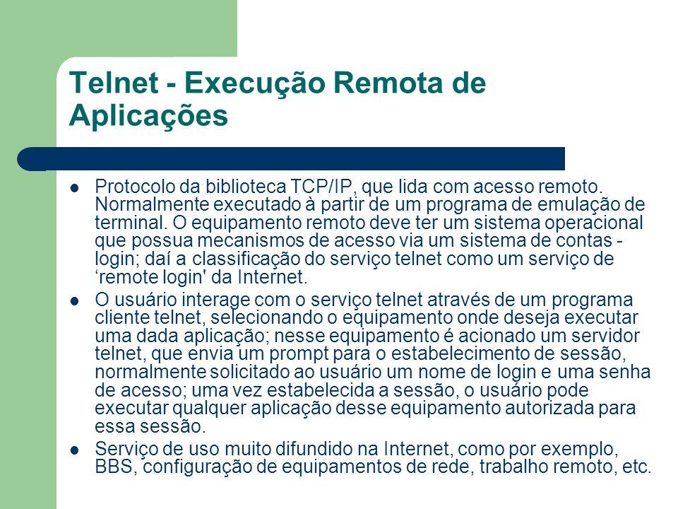 Telnet - Execução Remota de Aplicações