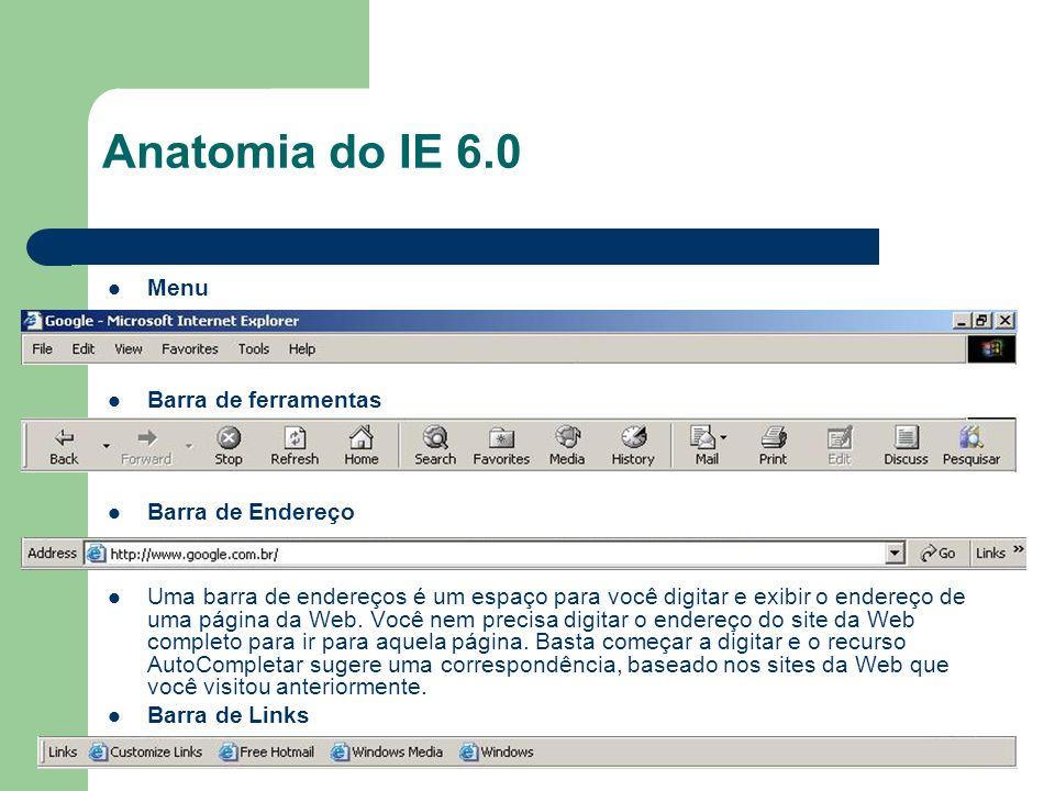 Anatomia do IE 6.0 Menu Barra de ferramentas Barra de Endereço