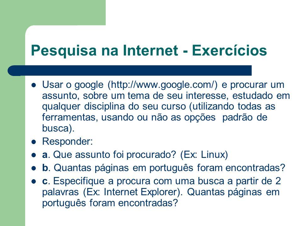 Pesquisa na Internet - Exercícios