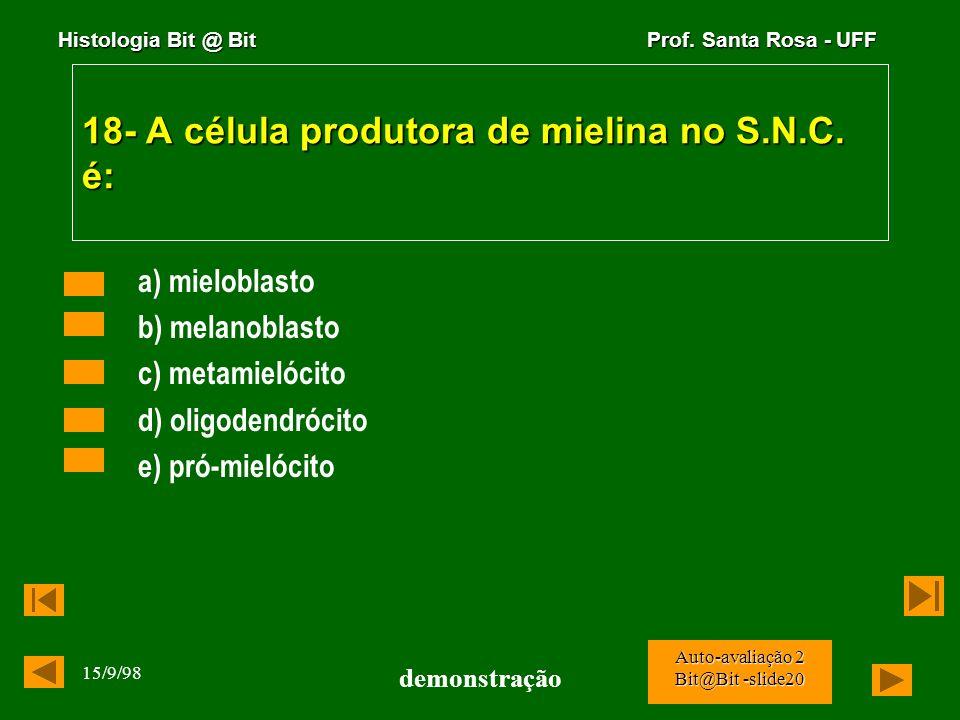 18- A célula produtora de mielina no S.N.C. é:
