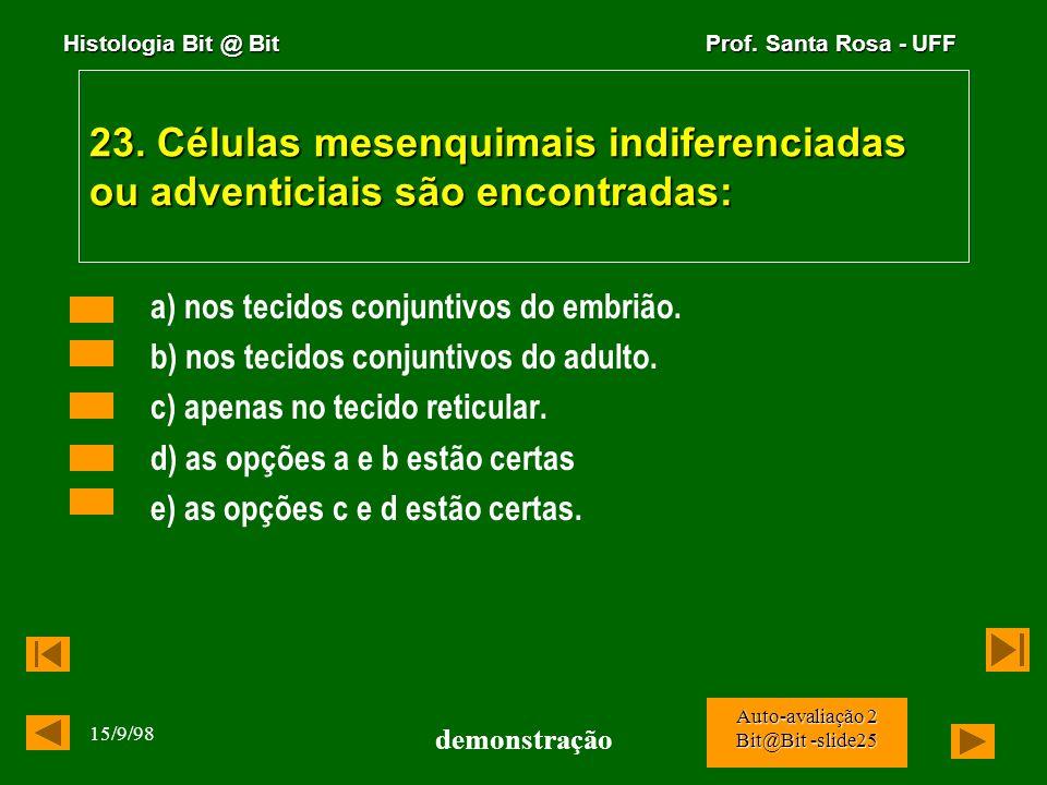 23. Células mesenquimais indiferenciadas ou adventiciais são encontradas: