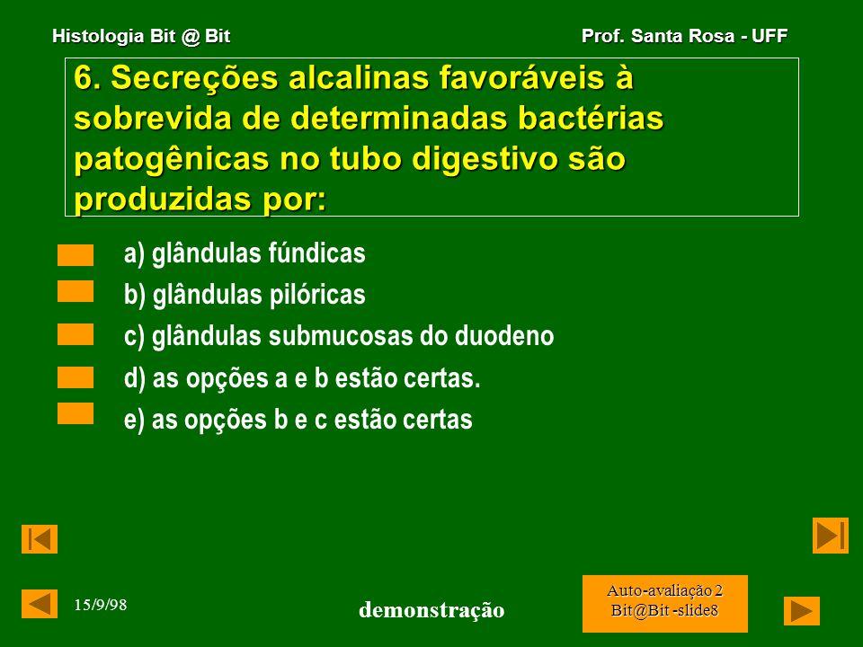 6. Secreções alcalinas favoráveis à sobrevida de determinadas bactérias patogênicas no tubo digestivo são produzidas por: