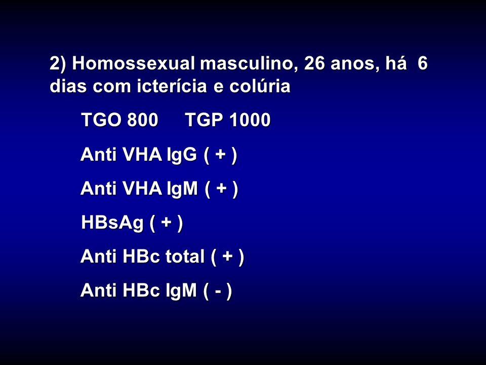 2) Homossexual masculino, 26 anos, há 6 dias com icterícia e colúria