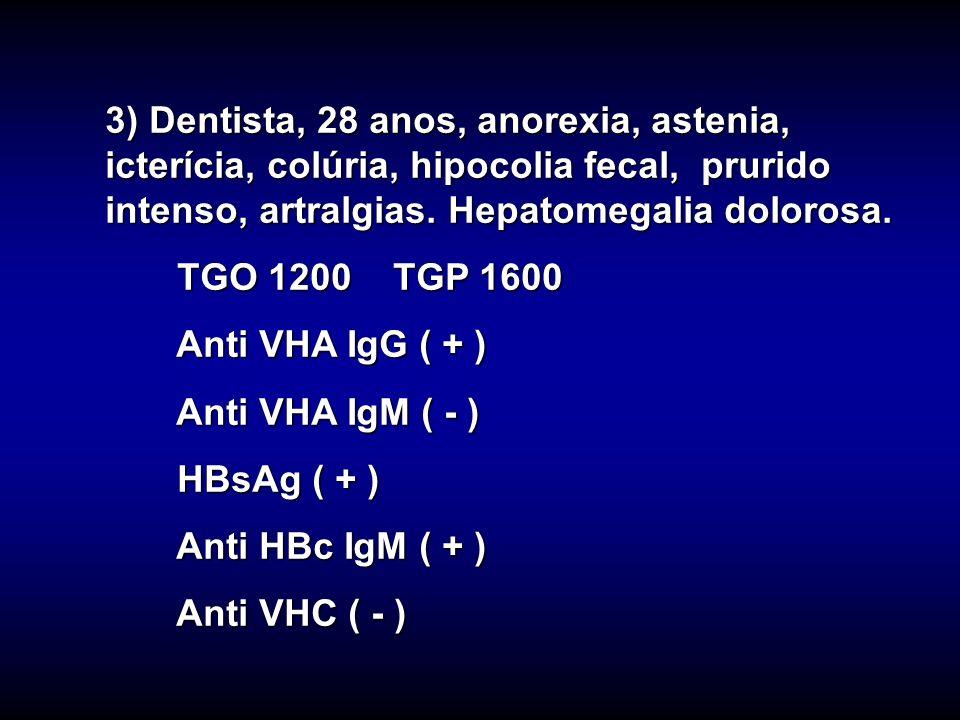 3) Dentista, 28 anos, anorexia, astenia, icterícia, colúria, hipocolia fecal, prurido intenso, artralgias. Hepatomegalia dolorosa.