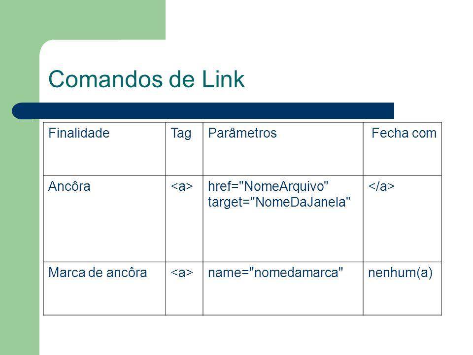 Comandos de Link Finalidade Tag Parâmetros Fecha com Ancôra <a>
