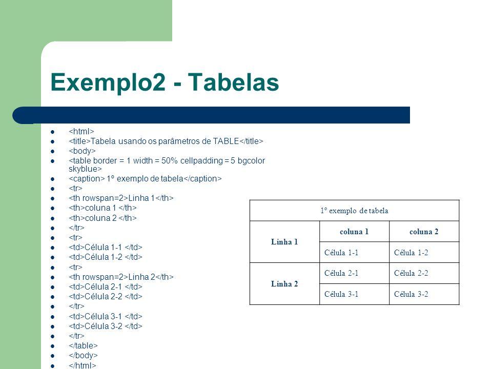 Exemplo2 - Tabelas <html>