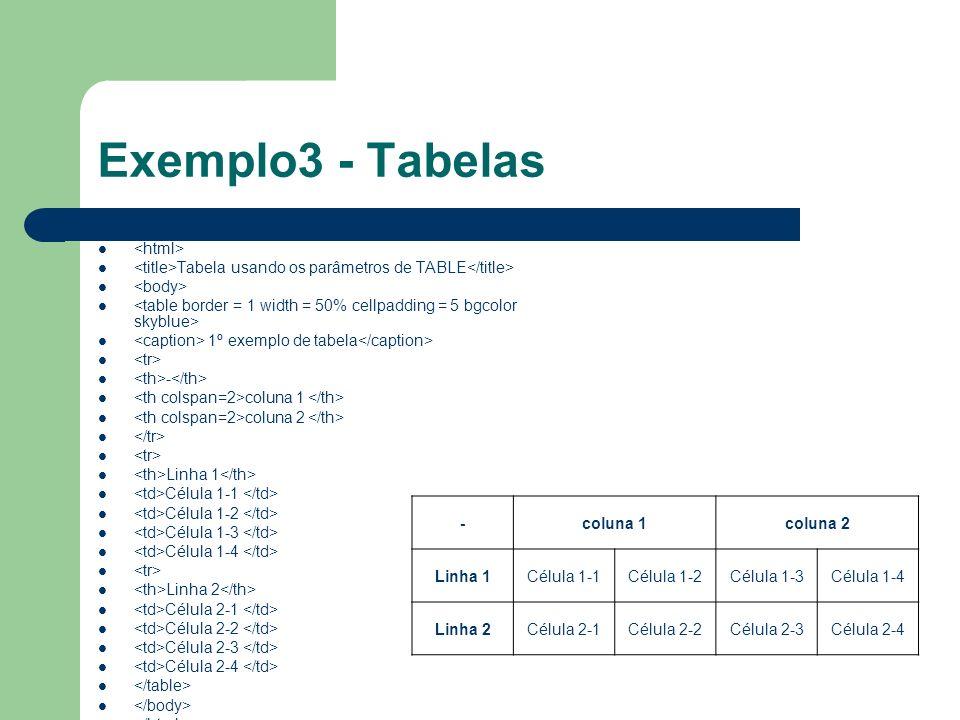 Exemplo3 - Tabelas <html>