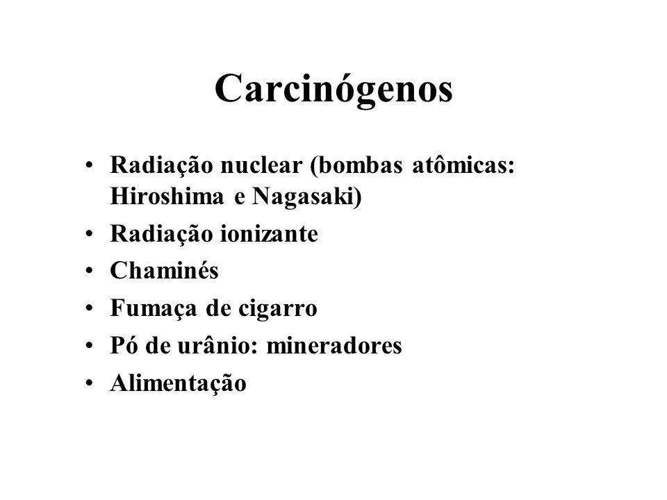 Carcinógenos Radiação nuclear (bombas atômicas: Hiroshima e Nagasaki)