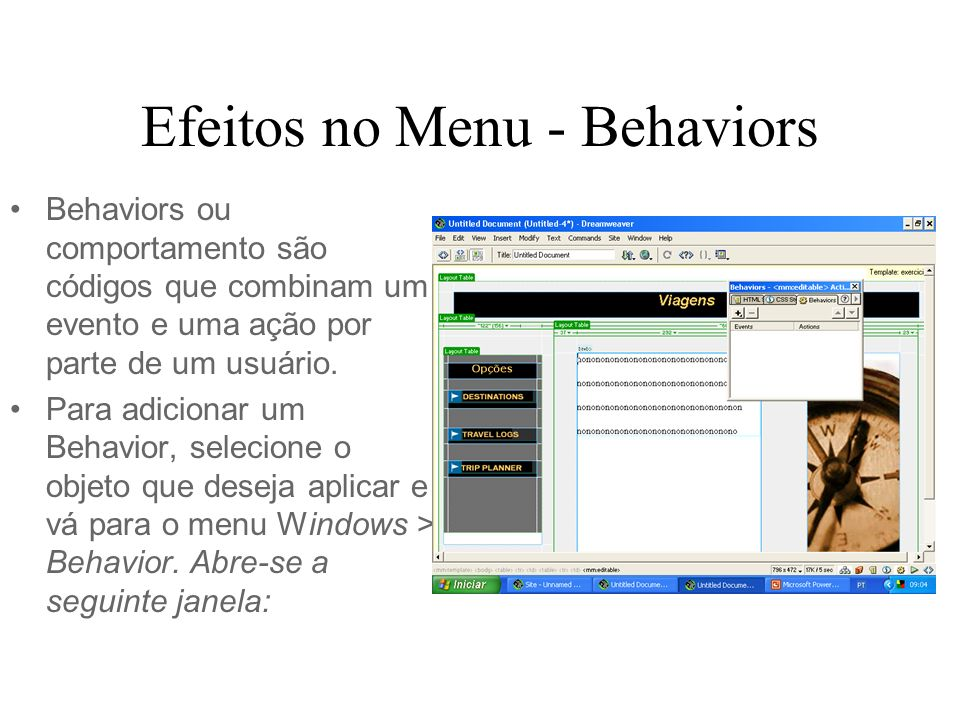 Efeitos no Menu - Behaviors