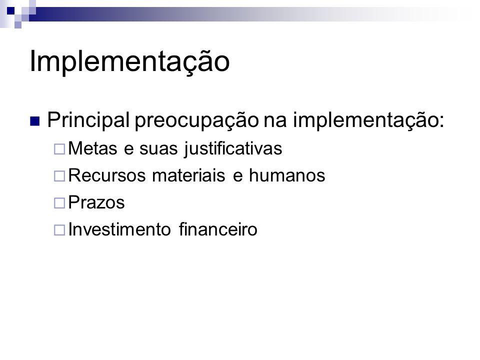 Implementação Principal preocupação na implementação: