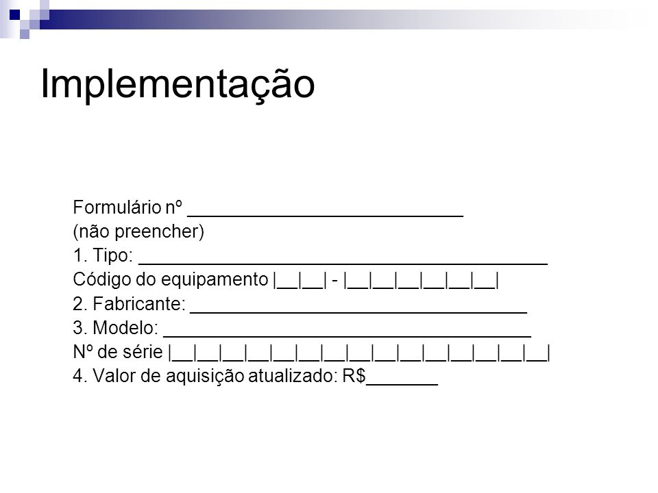 Implementação Formulário nº ___________________________
