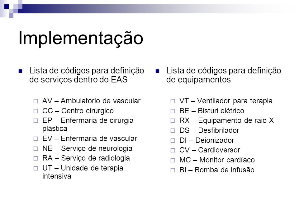 Implementação Lista de códigos para definição de serviços dentro do EAS. AV – Ambulatório de vascular.