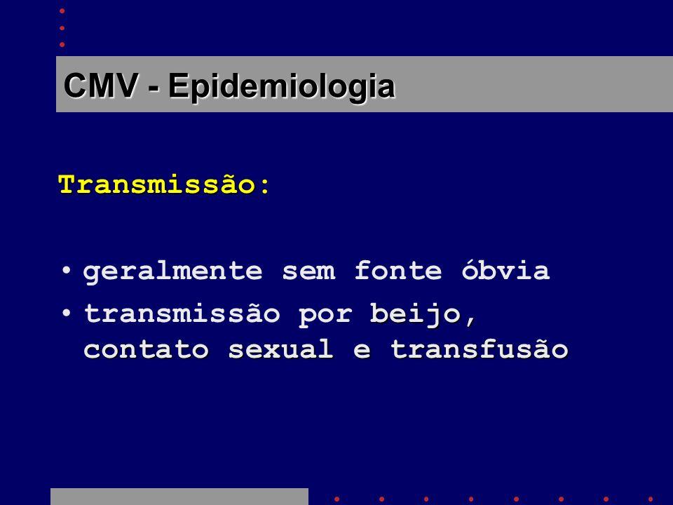 CMV - Epidemiologia Transmissão: geralmente sem fonte óbvia