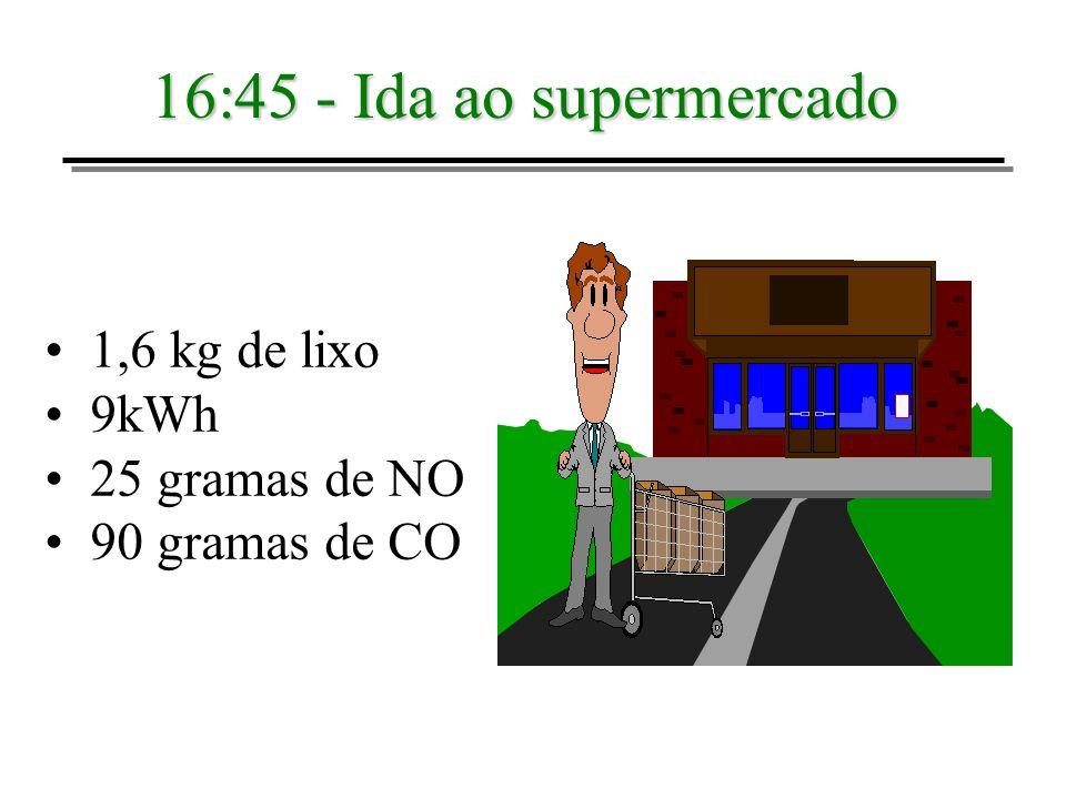 16:45 - Ida ao supermercado 1,6 kg de lixo 9kWh 25 gramas de NO