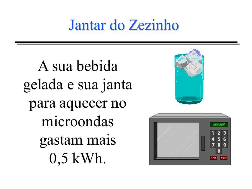 Jantar do ZezinhoA sua bebida gelada e sua janta para aquecer no microondas gastam mais 0,5 kWh.