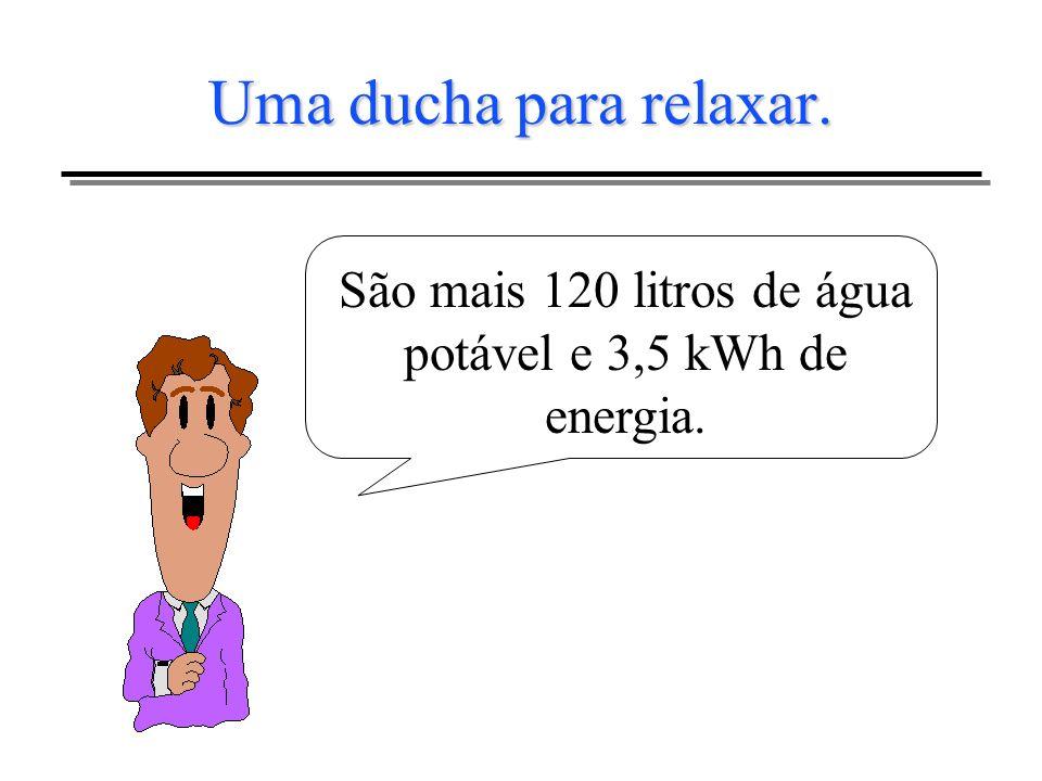 São mais 120 litros de água potável e 3,5 kWh de energia.