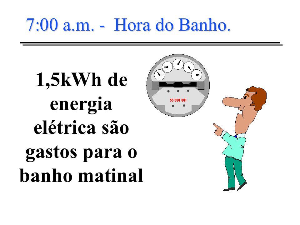 1,5kWh de energia elétrica são gastos para o banho matinal