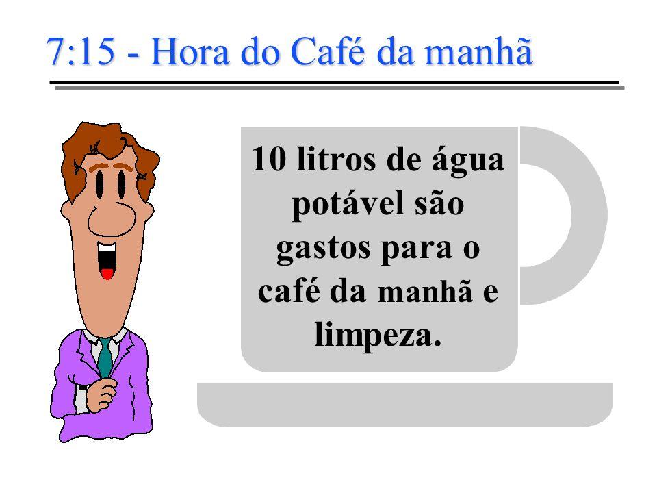 10 litros de água potável são gastos para o café da manhã e limpeza.