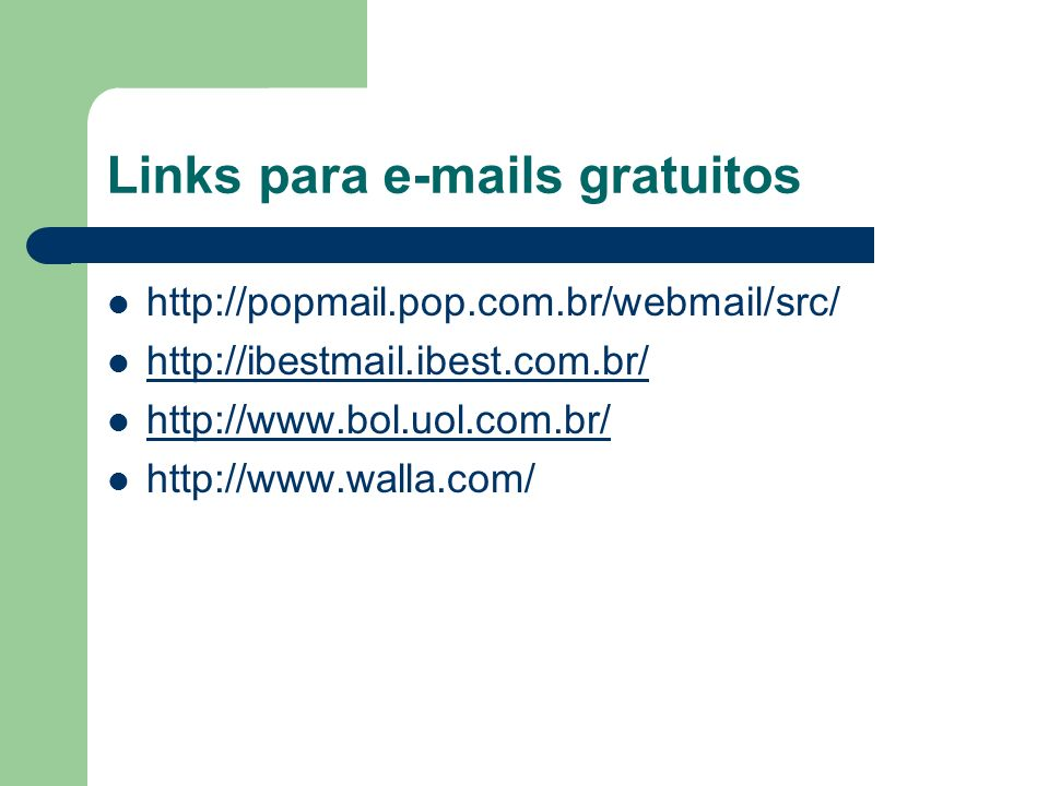 Links para e-mails gratuitos