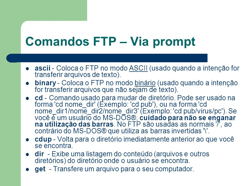 Comandos FTP – Via prompt