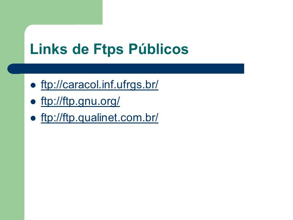 Links de Ftps Públicos ftp://caracol.inf.ufrgs.br/ ftp://ftp.gnu.org/