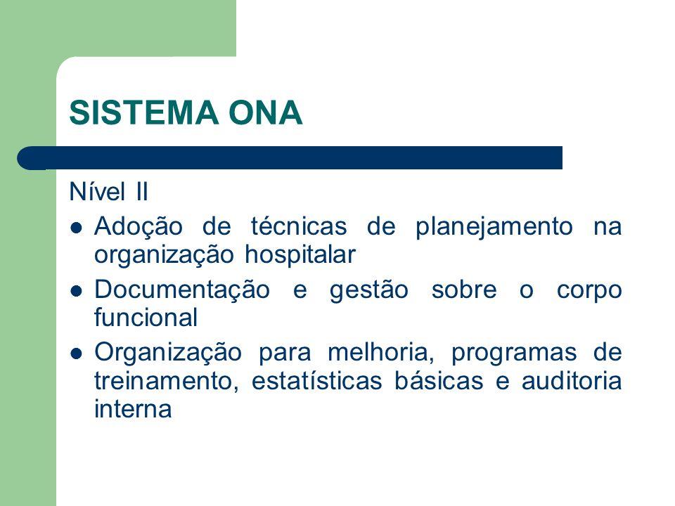 SISTEMA ONA Nível II. Adoção de técnicas de planejamento na organização hospitalar. Documentação e gestão sobre o corpo funcional.