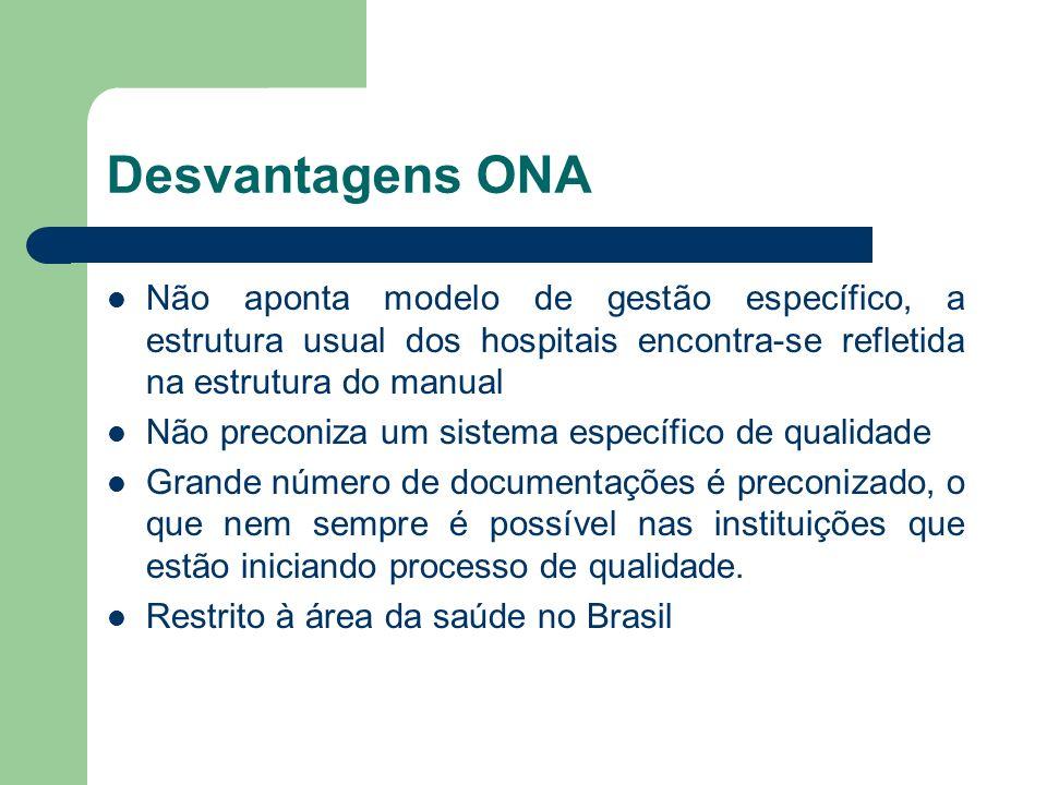 Desvantagens ONA Não aponta modelo de gestão específico, a estrutura usual dos hospitais encontra-se refletida na estrutura do manual.