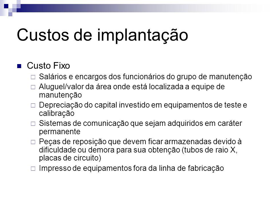 Custos de implantação Custo Fixo