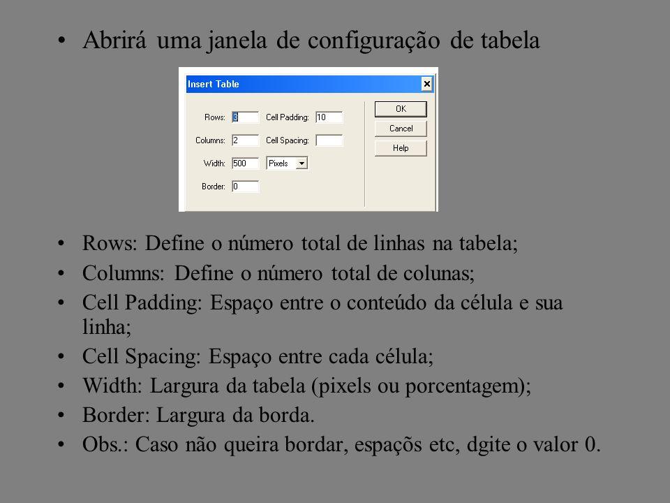 Abrirá uma janela de configuração de tabela