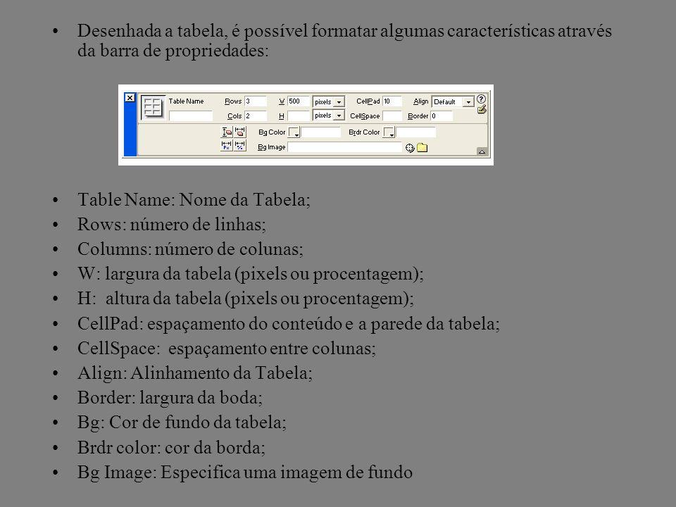 Desenhada a tabela, é possível formatar algumas características através da barra de propriedades: