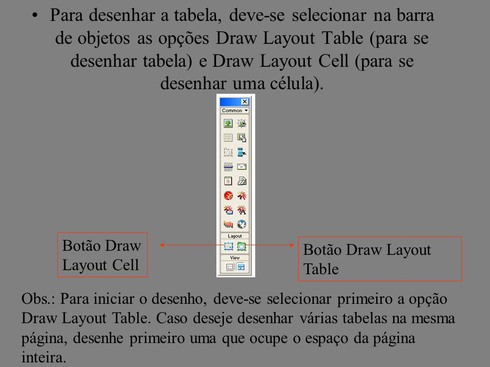 Para desenhar a tabela, deve-se selecionar na barra de objetos as opções Draw Layout Table (para se desenhar tabela) e Draw Layout Cell (para se desenhar uma célula).