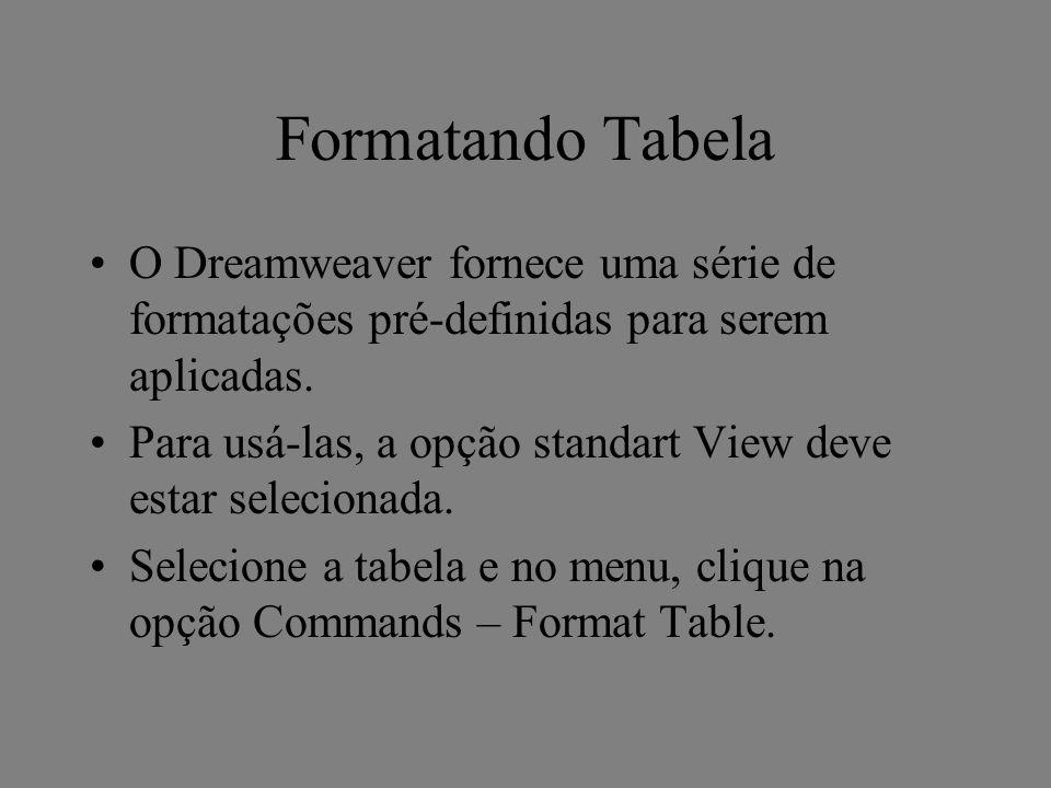 Formatando Tabela O Dreamweaver fornece uma série de formatações pré-definidas para serem aplicadas.