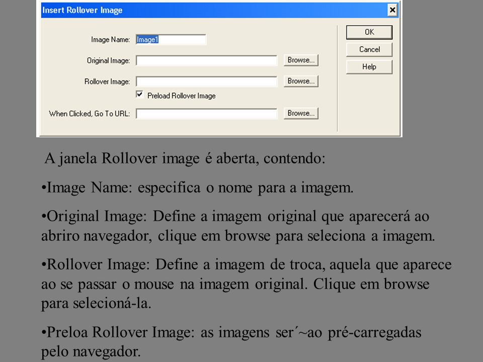 A janela Rollover image é aberta, contendo: