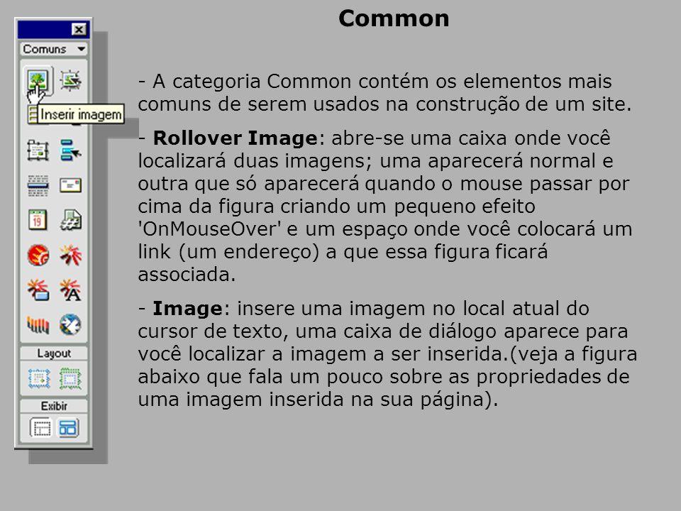 Common - A categoria Common contém os elementos mais comuns de serem usados na construção de um site.