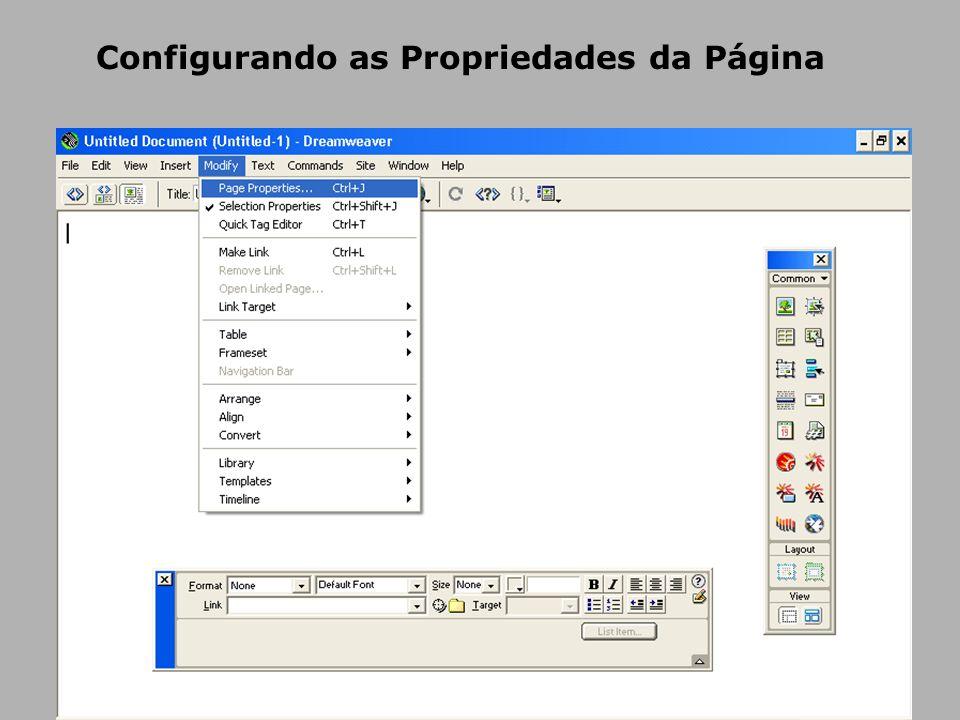 Configurando as Propriedades da Página