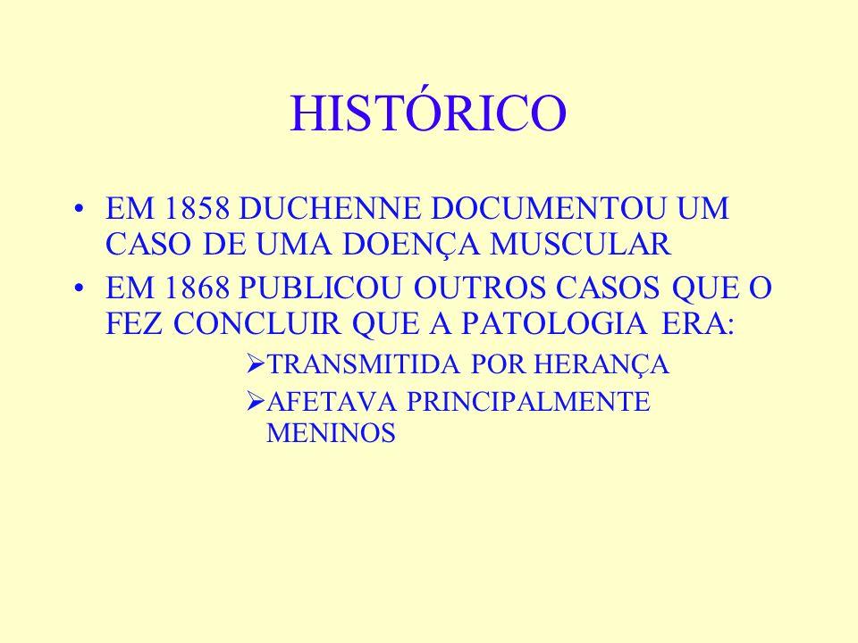 HISTÓRICO EM 1858 DUCHENNE DOCUMENTOU UM CASO DE UMA DOENÇA MUSCULAR