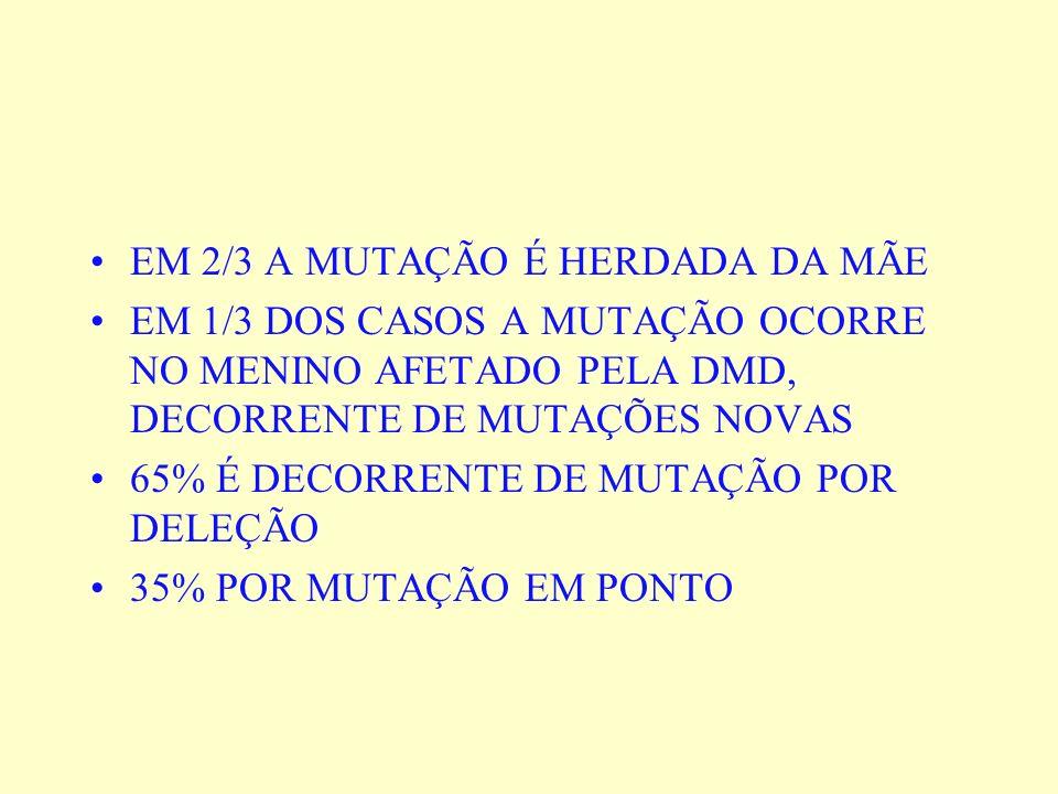 EM 2/3 A MUTAÇÃO É HERDADA DA MÃE