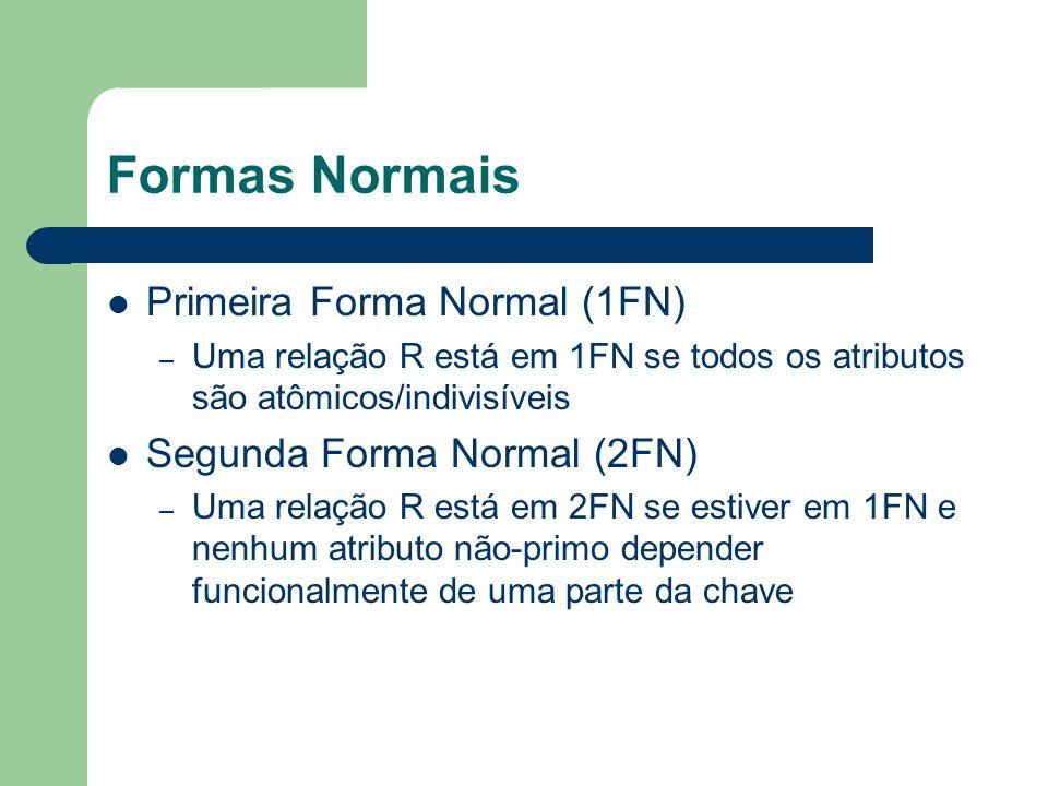 Formas Normais Primeira Forma Normal (1FN) Segunda Forma Normal (2FN)