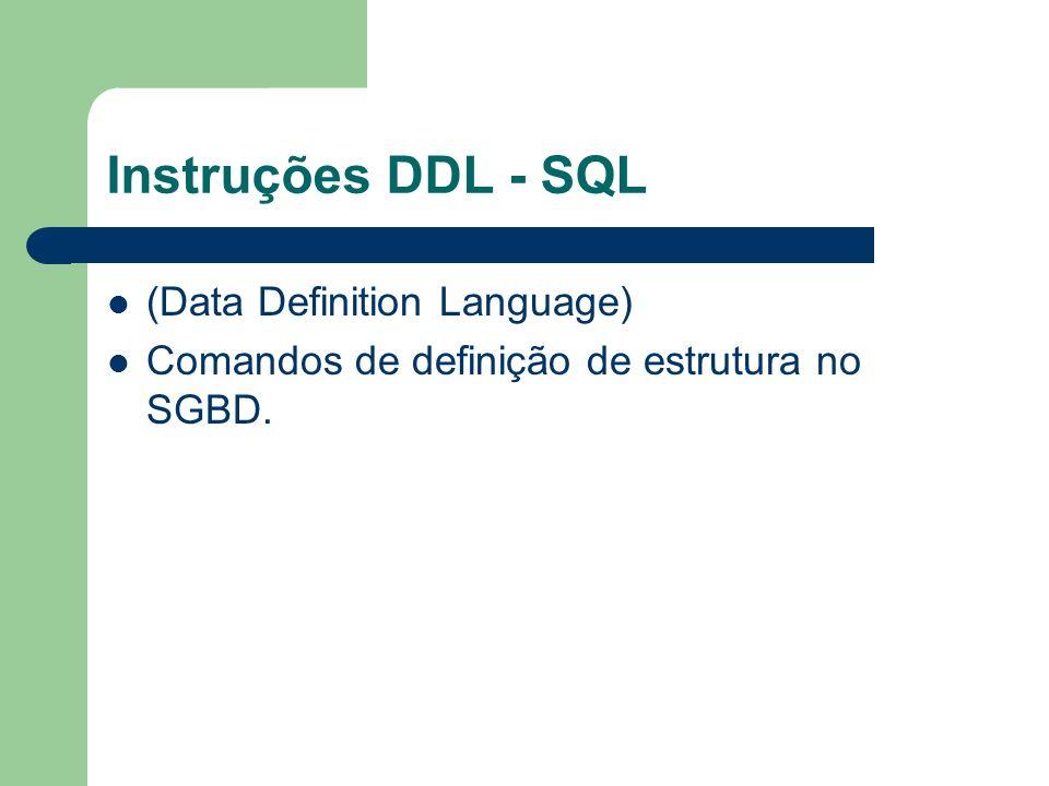 Instruções DDL - SQL (Data Definition Language)