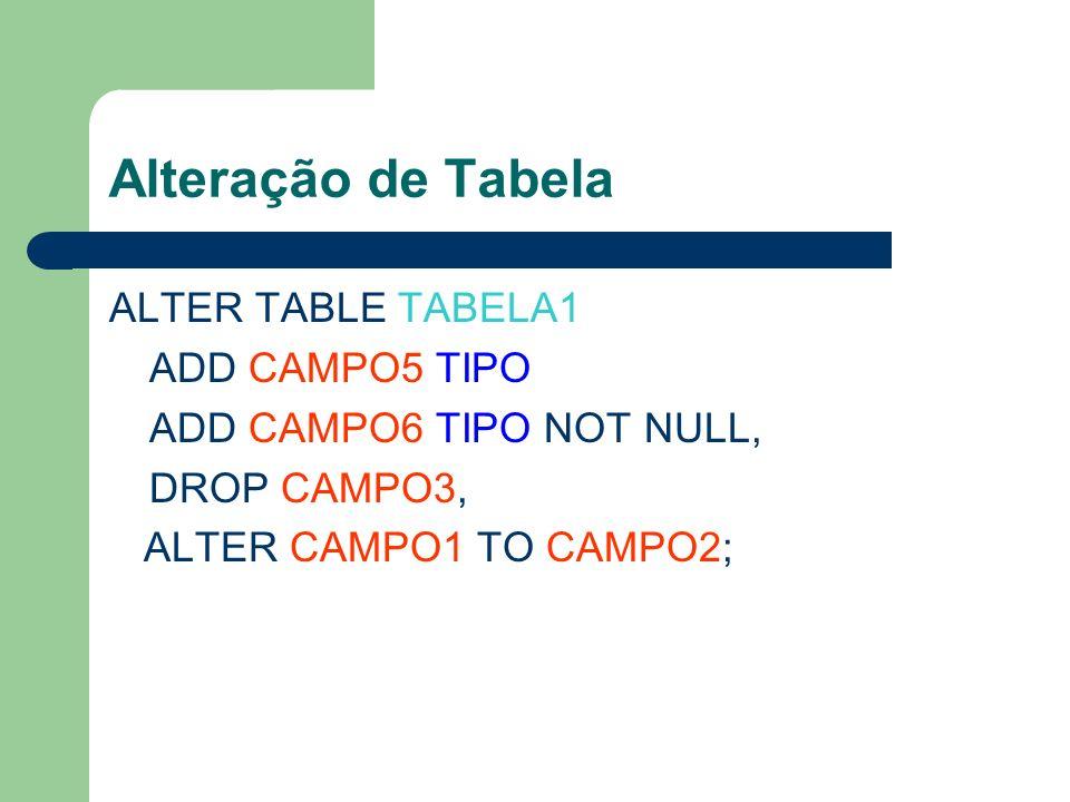 Alteração de Tabela ALTER TABLE TABELA1 ADD CAMPO5 TIPO