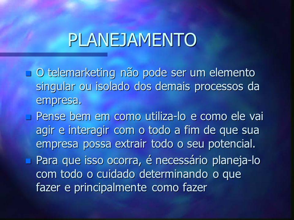 PLANEJAMENTO O telemarketing não pode ser um elemento singular ou isolado dos demais processos da empresa.