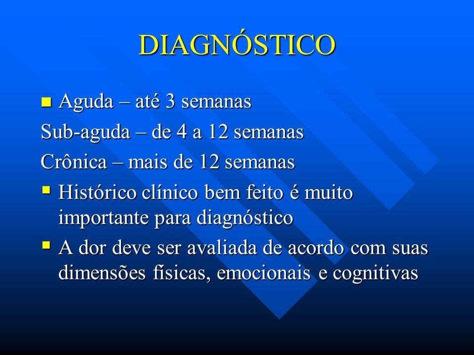 DIAGNÓSTICO Aguda – até 3 semanas Sub-aguda – de 4 a 12 semanas