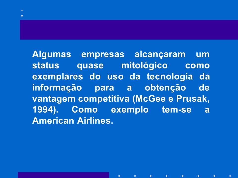 Algumas empresas alcançaram um status quase mitológico como exemplares do uso da tecnologia da informação para a obtenção de vantagem competitiva (McGee e Prusak, 1994).