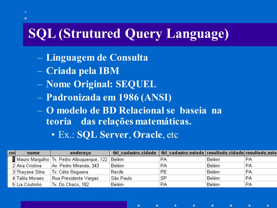 SQL (Strutured Query Language)