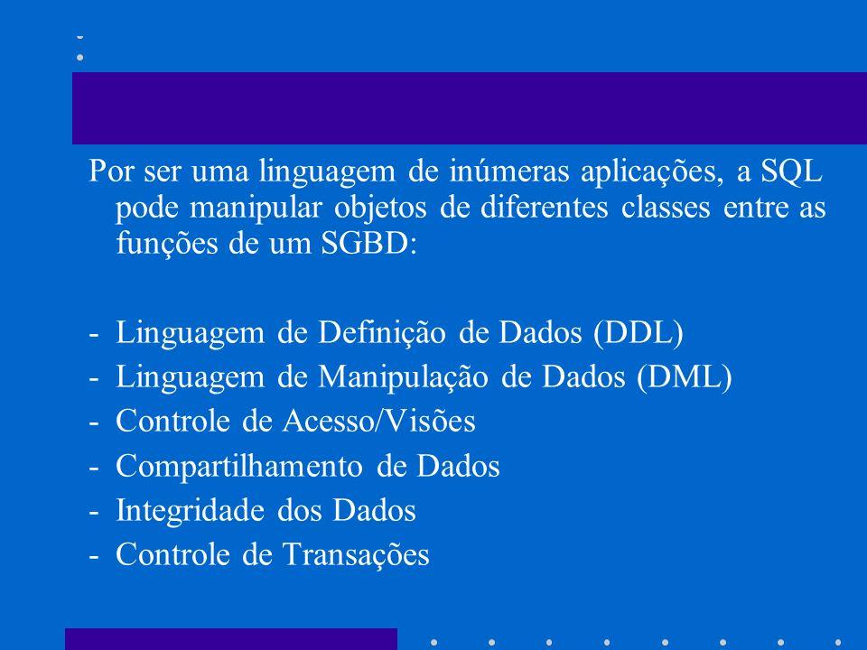 Por ser uma linguagem de inúmeras aplicações, a SQL pode manipular objetos de diferentes classes entre as funções de um SGBD: